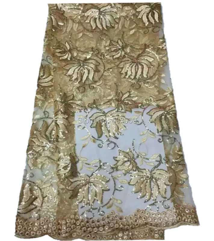 The New Listing Beautiful Gold Sequins Embroidered Pattern Tull Fabric For Evening Dress,High Quality French Net Lace Trim(China (Mainland))