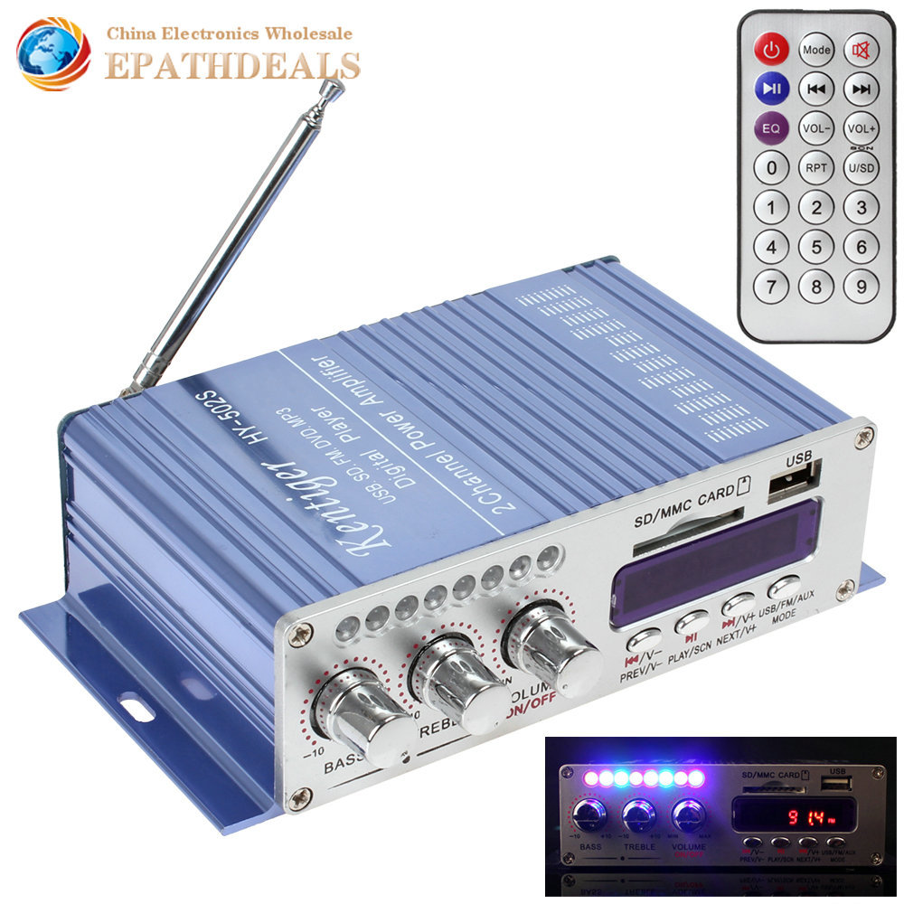 Гаджет  HY502S Bluetooth Car Power Amplifier Stereo Sound Mode HiFi 2 Channel Mini Digital FM Audio + MP3 Speaker Music Player for iPod None Автомобили и Мотоциклы