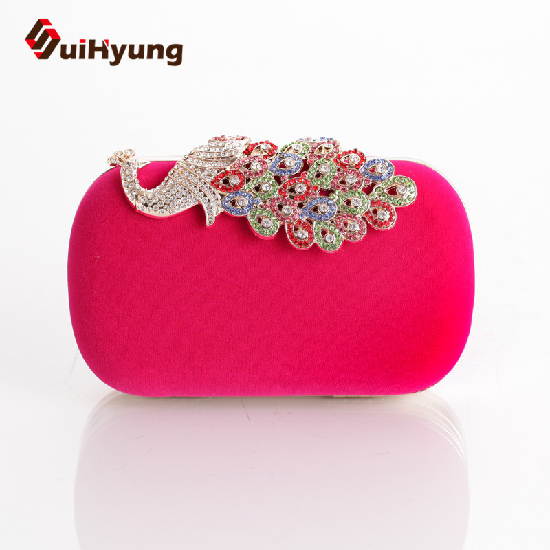 Hot Selling Women Velvet Evening Bag Colored Diamond Hard Box Day Clutch Ladies Shoulder Handbag Bolsas - SuiHyung-Bag store