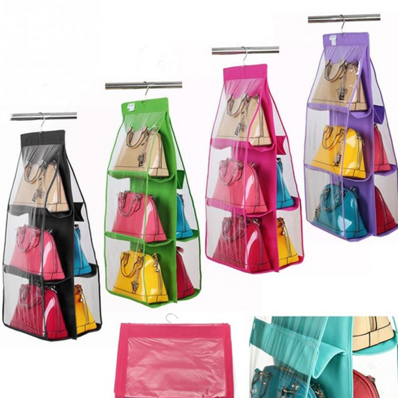 6 grids closet organizadores case durable door fashion handbags finishing hanging bags organizer hang storage bag(China (Mainland))