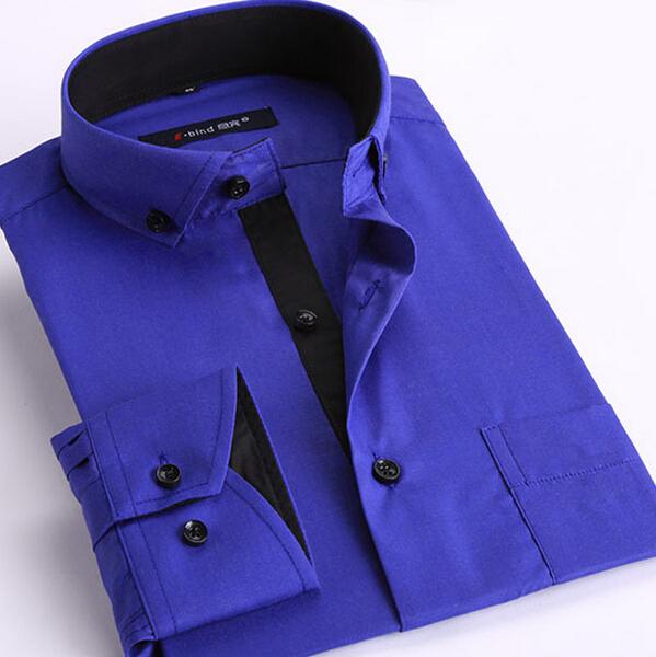 Men Shirt Brand 2015 Buckle Fashion Business Cufflinks Formal Slim Fit Dress Shirts Social Design French