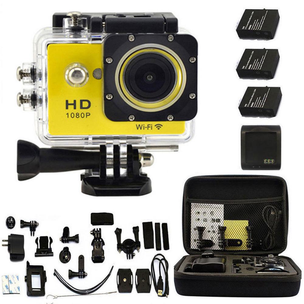 Shockproof Bag + Battery + SJ6000-W9 2.0  WIFI 1080P HD Sports Action Car Recorder DVR Video Waterproof Camera DV Diving Yellow<br><br>Aliexpress
