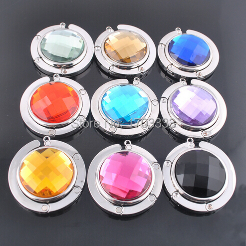 Best Mix Colors Fashion Round foldable Bag Hanger Purse Hook purse hanger Handbag Holder w Acrylic(China (Mainland))