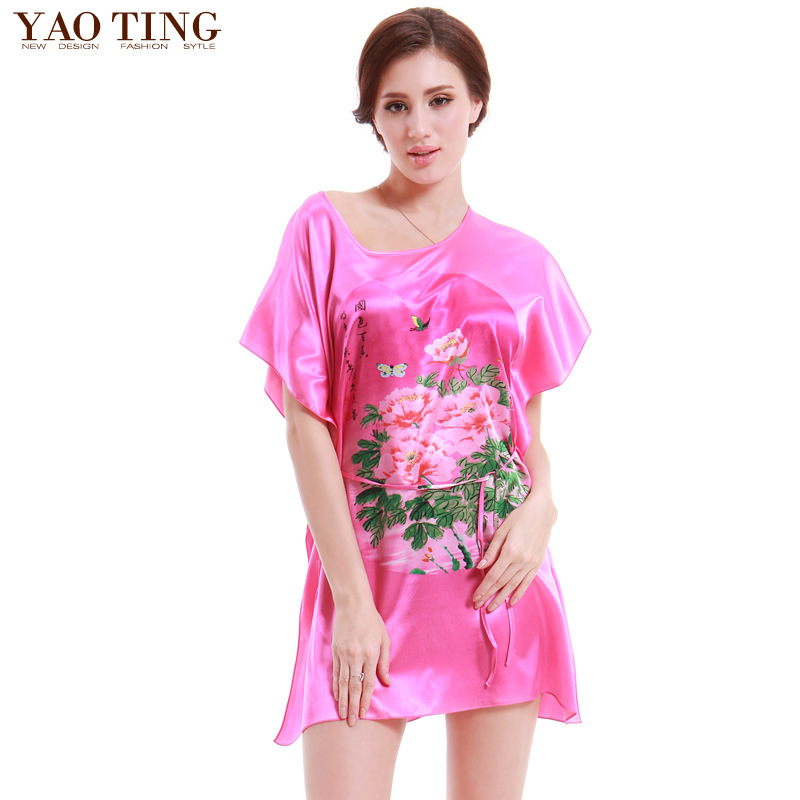 Multi Pattern Special Summer 2014 Folk Style Characteristics Of Loose Home Furnishing Silk Nightwear(China (Mainland))