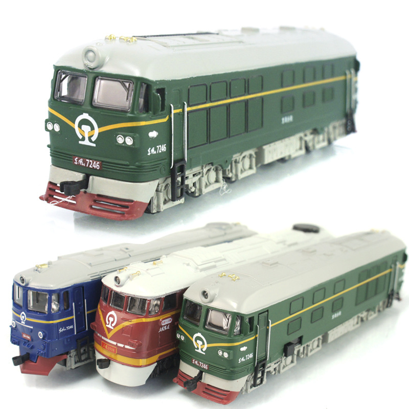 Dongfeng locomotive simulation model of acousto-optic alloy warrior green train model classic children's toy car(China (Mainland))