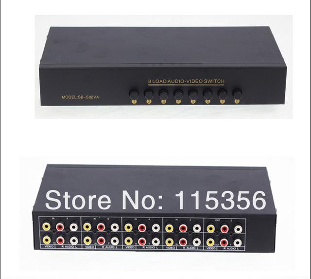 8 Port Input 2 Output Audio Video AV RCA Switch Box 4 Ways Selector Box
