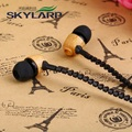 New Zipper oak wood products fashion in ear type into a wired headset The leisure music