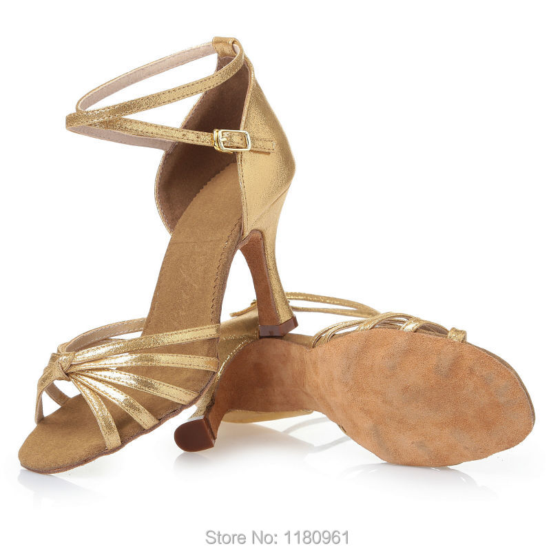Women's Dance Shoes Latin dance shoes Party shoes Heels Chunky Heel 8.5cm gold PU gold film leat satin Factory direct sale  CL28