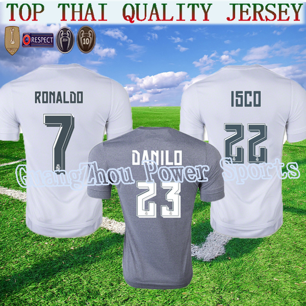 15 16 REAL MADRID jersey soccer 2015 2016 danilo CHAMPIONS LEAGUE CLUB WORLD CUP away 3rd RONALDO Football Shirt Camiseta gray(China (Mainland))