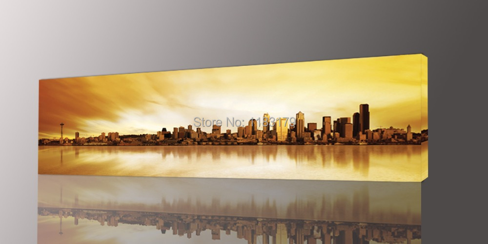 Long Yellow City Painting Canvas Wall Art Picture Print For Living Room Photo 1 Panel Gift