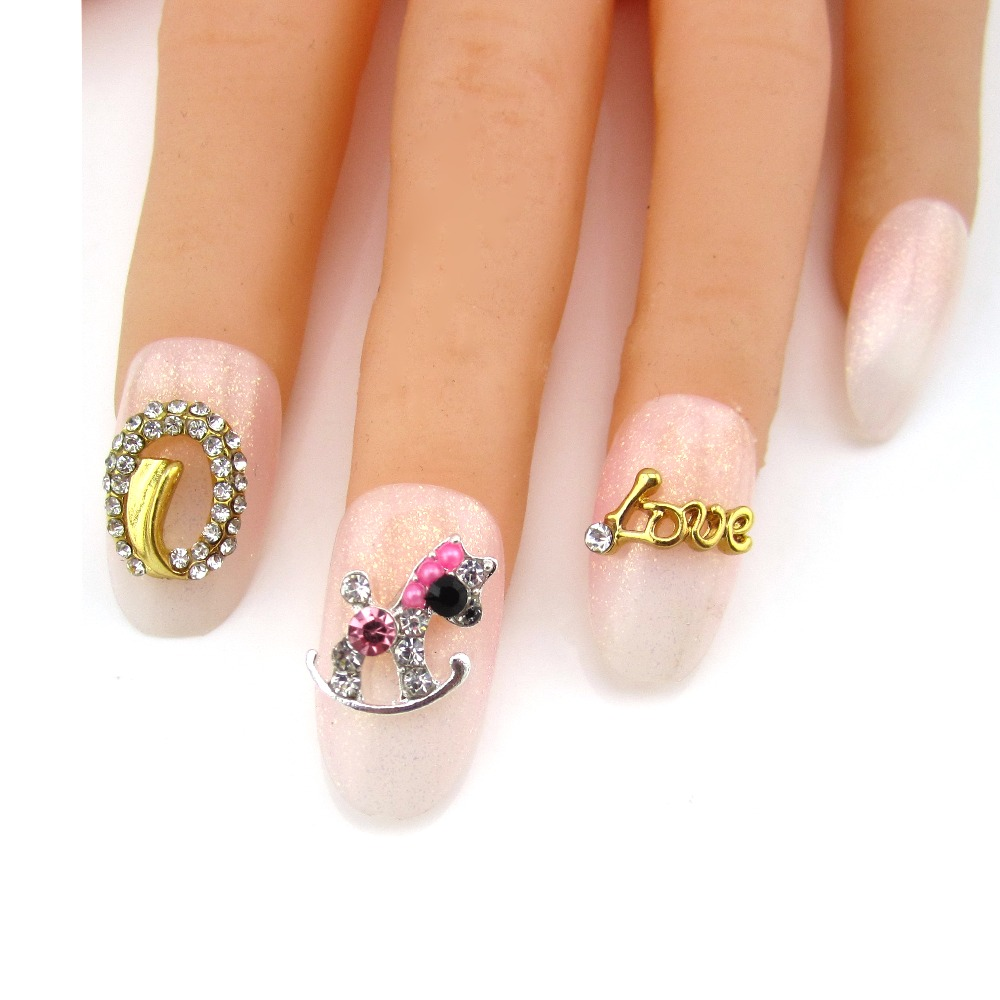 Buy 10pcs love gold metal nail for 3d nail decoration