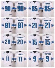 Detroit Lions #20 Barry Sanders #15 Golden Tate III #11 Marvin Jones Jr #9 Matthew Stafford Elite White Light Blue Team Color(China (Mainland))