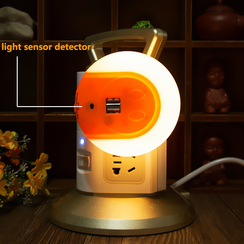 On / Off / Auto Led Night Light With Usb Charging Port Multifunction Wall Lights Auto Light Sensor Bedroom Lighting Luminaria