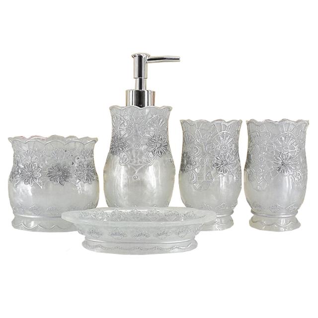 Accesorios De Baño Resina:Plata del oro de lujo flores de resina conjunto de accesorios de baño