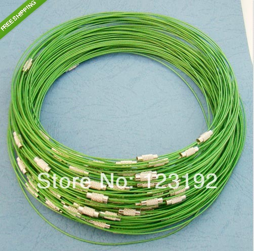 Free shipping Wholesale 1mm 18inch Green stainless steel wire necklace cord collar choker screw clasp 100pcs/lot(China (Mainland))