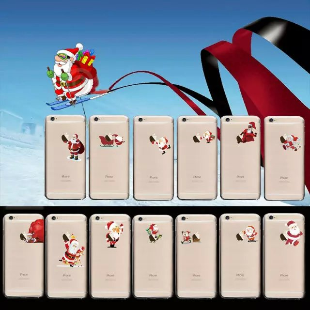 """Hot For Apple iPhone 6 Case Christmas Decor Santa Claus Reindeer Ultra-thin Clear Back Cover Protective Skin for iPhone6 6S 4.7""""(China (Mainland))"""