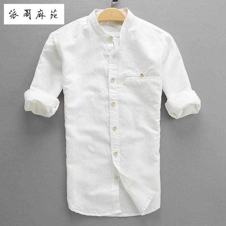 Hot 2016 summer three quarter sleeve male linen shirt men for Denim half sleeve shirt