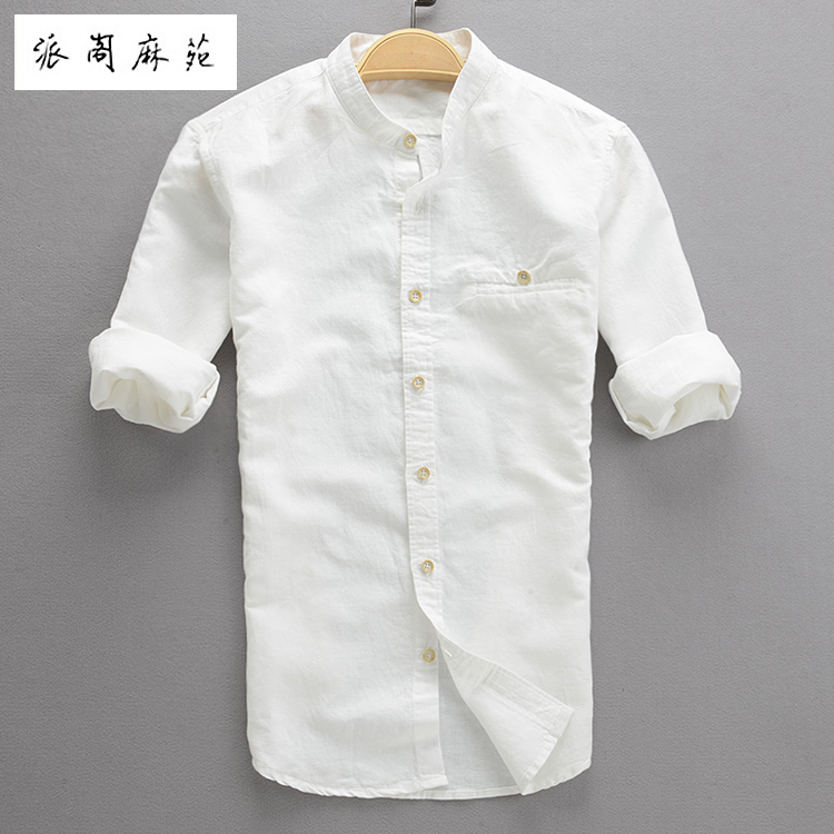 Hot 2016 summer three quarter sleeve male linen shirt men for Half sleeve t shirts for men