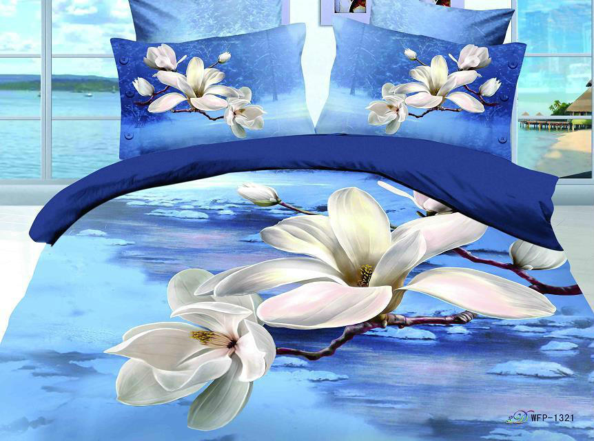 new style 3d 100% cotton bedding set 4pcs scenery bed set king size,duvet cover/quilt/comforter set/bedspread freeshipping(China (Mainland))