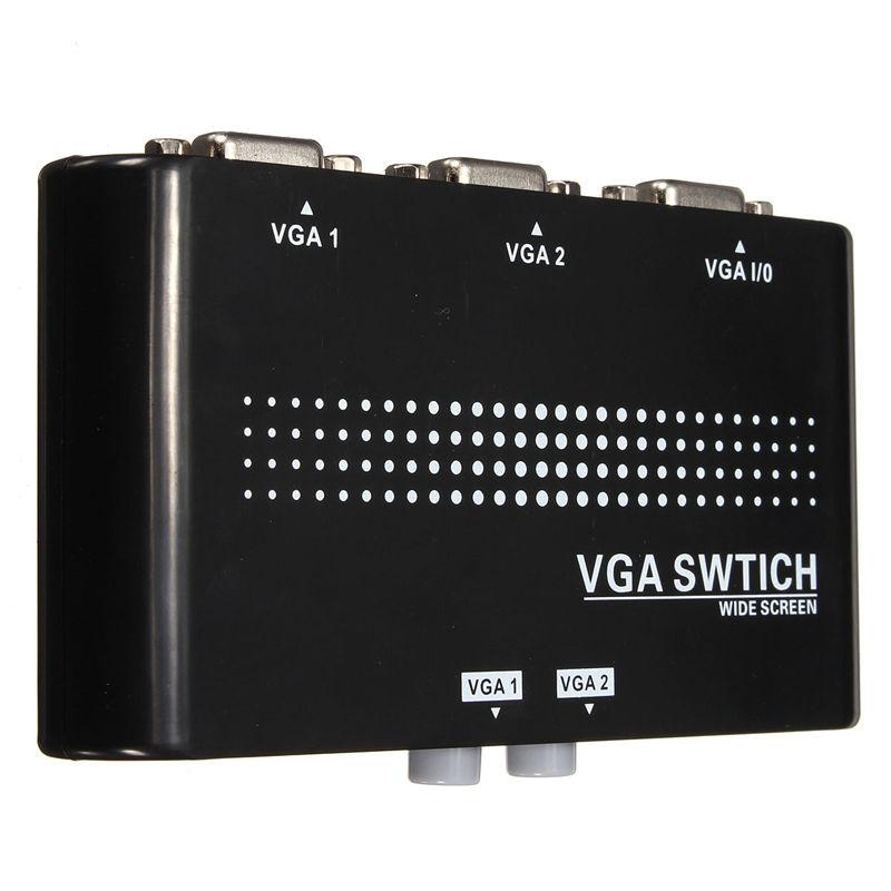 Brand New 12x6x2cm 2048*1536 1 Monitor to 2 PC 2 Port 2 In 1 Out VGA/SVGA Sharing Switch Switcher Box Support VGA XVGA SVGA UXGA(China (Mainland))