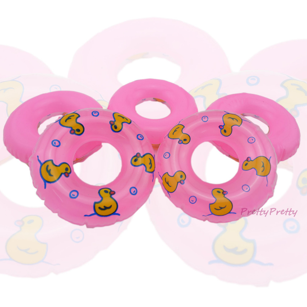 Wholesale  Free Delivery 25 Pcs Pink Swimming Buoy Lifebelt Ring For 1:6 Barbie Doll Equipment Swimming laps  Child Toys