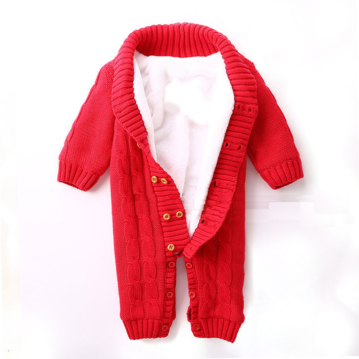 100% Cotton Winter Newborn Baby Rompers Plus Velvet Warm Baby Girls Costume Baby Boys Outfits Infant Clothing Baby Clothes(China (Mainland))