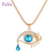2016 New Fashion Women Eye Necklaces Crystal Gold plated Zinc Alloy Long Necklace Charms Drilling Eye Necklaces Jewelry Hot sale