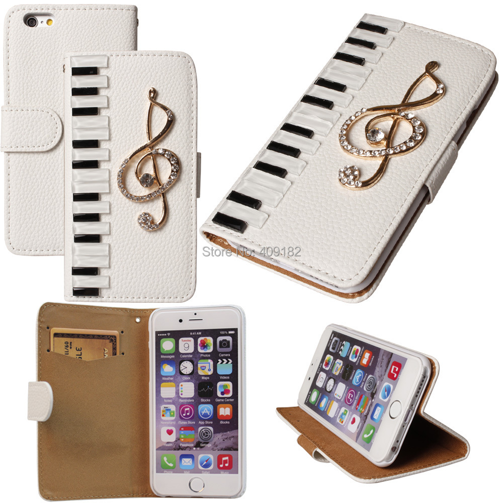 DIY Luxury Leather 3D Piano Keys Musical Bling Crystal Case Cover For iPhone 4 5 5s 6 6Plus For Galaxy S3/4/5/6 Note 2 3 4 Mini(China (Mainland))