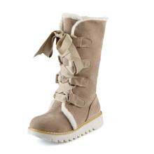 KARINLUNA 2018 große größe 32-43 lace up 5 farben Schuhe Frauen Hinzufügen Warme Pelz Plattform winter Schuhe frau schnee Stiefel plüsch flache ferse(China)