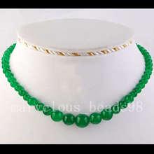 "6~14mm Green Jade Globe Beads Necklace 17"" SG3278(China (Mainland))"