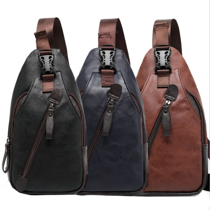 New Men PU Leather High Quality Travel Hiking Cross Body Messenger Shoulder Fahion Casual Sling Pack Chest Bag(China (Mainland))