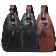 Men PU Leather Travel Cross Body Messenger Shoulder Fahion Casual Sling Pack Chest Bag - BagFaves Store store