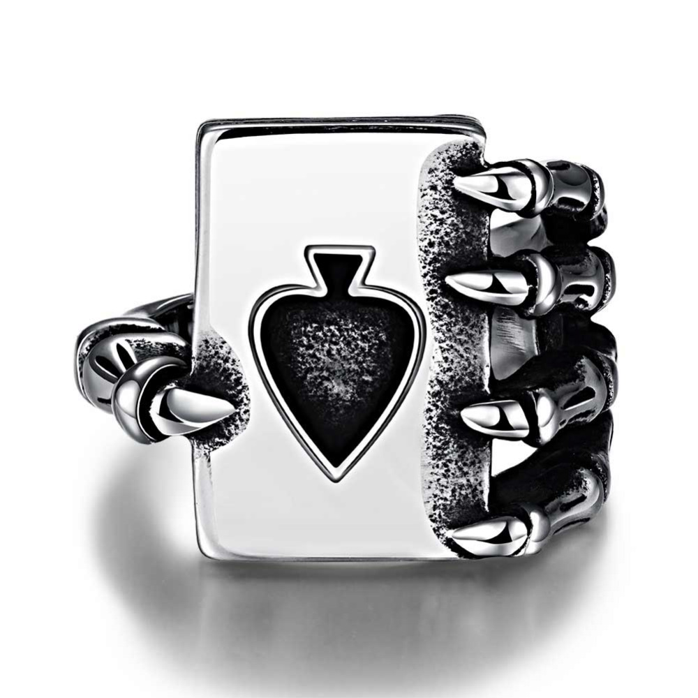 Fashion Punk Men Ring Fashion Punk Men Jewelry Sell Like Hot Cakes Personality Poker 316 l Steel Men's Ring(China (Mainland))