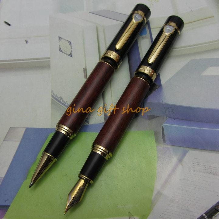 2Pcs Fountain Pen and Roller Ball Pen Jinhao Black and Real Redwood 18kgp Nib Medium with Ordinary Gift Box J1149<br><br>Aliexpress