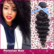 Peruvian Virgin Hair Deep Wave Human Hair Natural Black Color 6A Grade Remy Queen Hair Products Extensions Can Be Dyed 100g/pcs(China (Mainland))