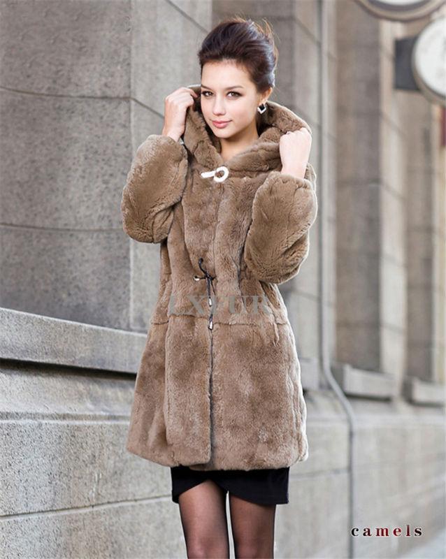 Womens Noble Genuine Rex Rabbit Fur Coat Fashion Solid Hoody Winter Warm Outwear Long Parka LX00084 - LuxuryFur store