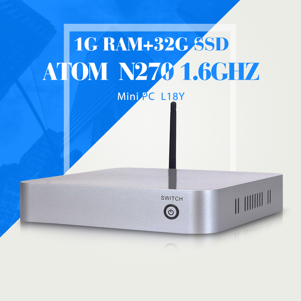 Hot Selling Smallest Computer N270 N450 1G RAM 32G SSD+WIFI Mini PC Latest Mini Computer Desktop Computer Laptop Thin Client(China (Mainland))