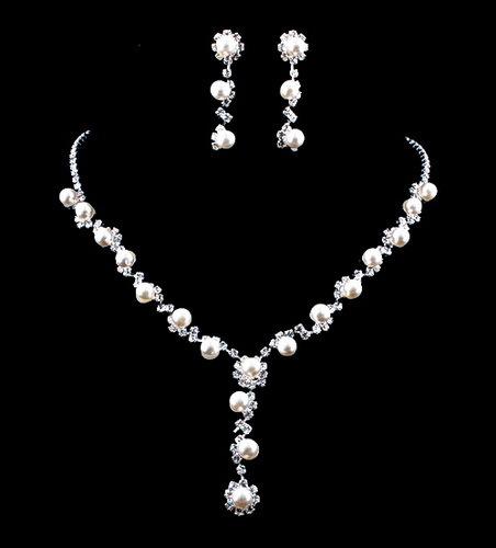 Free Shipping Bridal Wedding Rhinestone Crystal Pearl Necklace Earrings Jewelry Set Fashion Jewllery for Bridesmaid(China (Mainland))