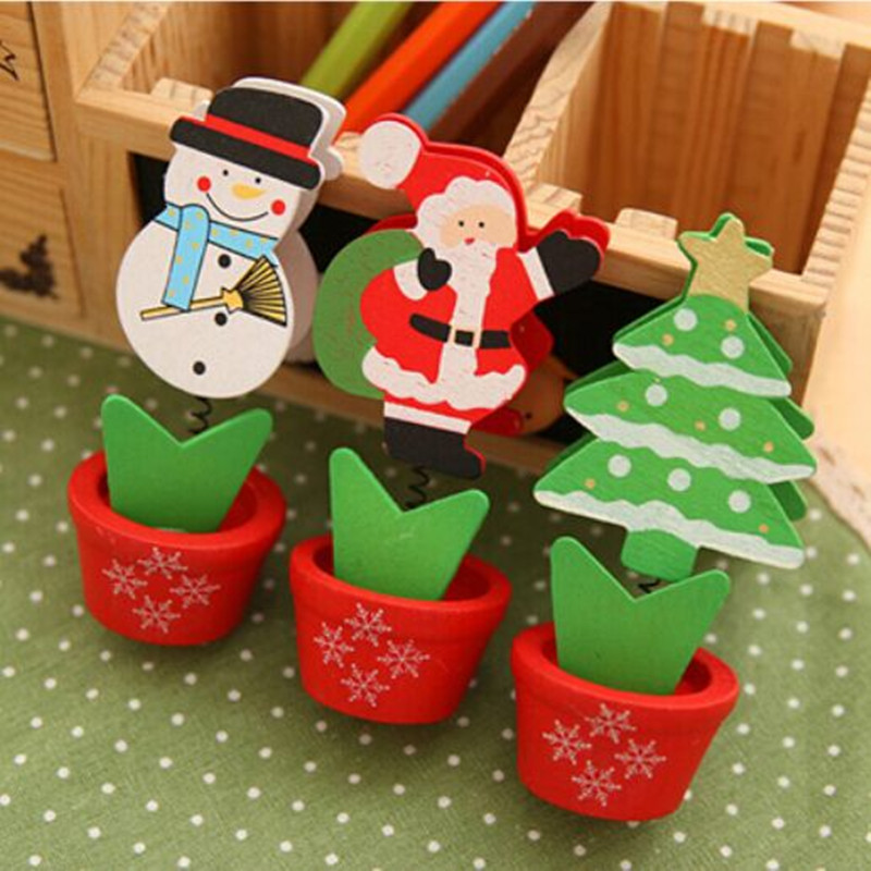 Creative Lovely Christmas Snowman Hood Wooden Crafts Memo Clamp Photo Clip Note Holder for Office Study Room Decoration 5413(China (Mainland))