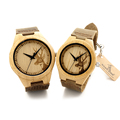2016 Top brand Bobobird Brand Lovers Wooden Bamboo Watch Deer Head engrave Quartz Real Leather Strap