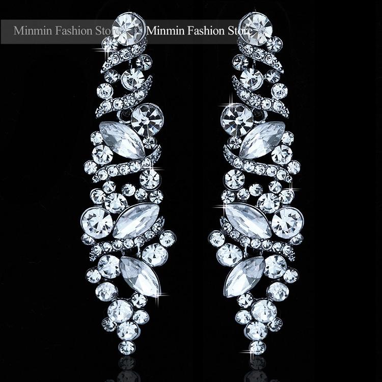2015 Charming Jewelry Large Austrian Crystal Luxury Long Earrings Bridal Leaf Drop Earrings for Women for Wedding EH227<br><br>Aliexpress