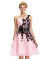 Grace Karin 2016 Sexy White and Black Lace Applique Short Prom Dresses Pink Special Occasion Dresses