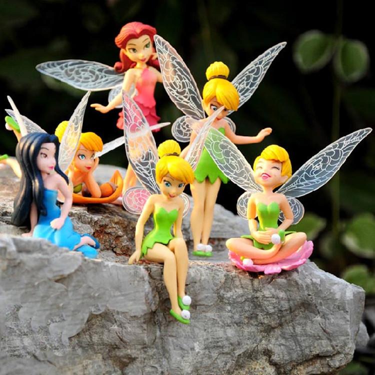 6pcs/Set Christmas Halloween Kids Gift Tinkerbell Dolls Flying Flower Fairy Children Animation Educational Cartoon Toys GYH(China (Mainland))