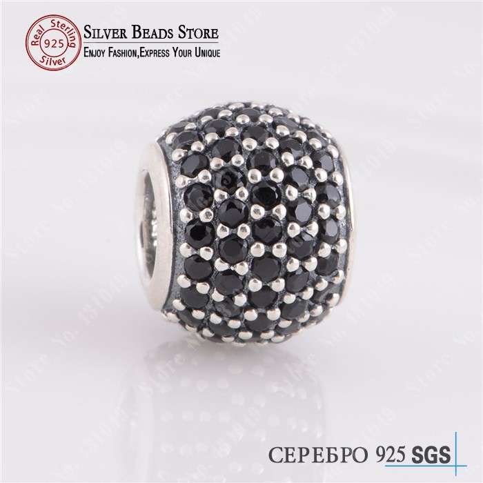 Black Zircon/CZ Charms Fits Pandora Bracelet Original 925 Sterling Silver Pave Ball Charm Bead Diy Fine Jewelry Making - AASTORY store