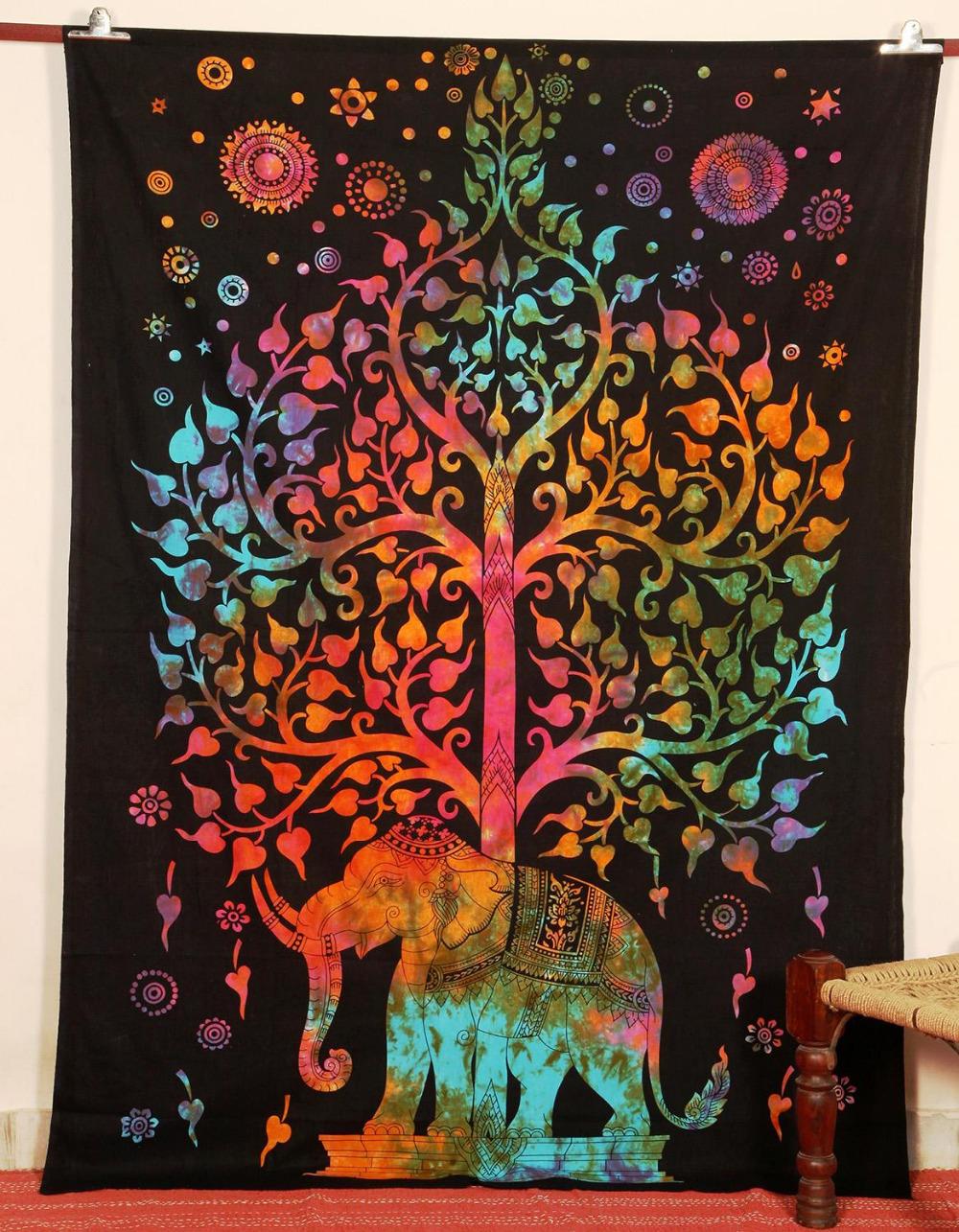 Com buy indian tapestry elephant under tree mandala wall hanging