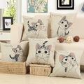 New Cat printed Cotton Linen Sofa Cushion Embrace Pillow 45x45cm 17 7x17 7 DecorativeThrow Pillow