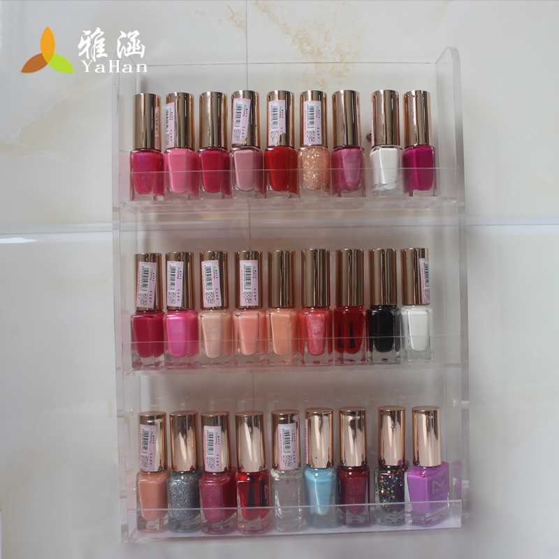 clear acrylic 24bottle- 3-layer wall-mounted/standing transparent nail polish shown shelf cosmetic organizer  -  Ya Han products store