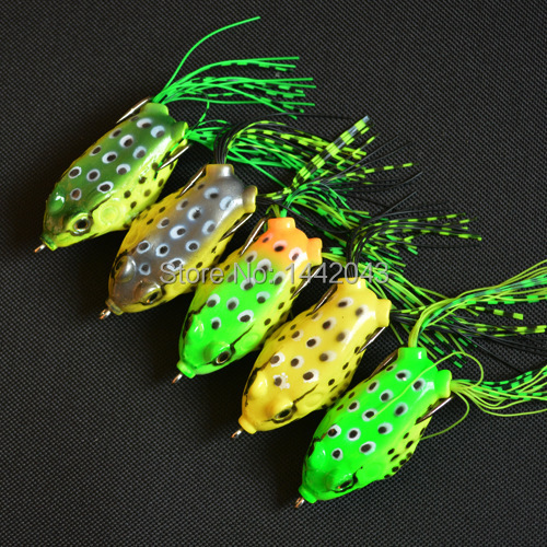 5pcs topwater frog hollow body soft fishing lures for Top water frogs bass fishing