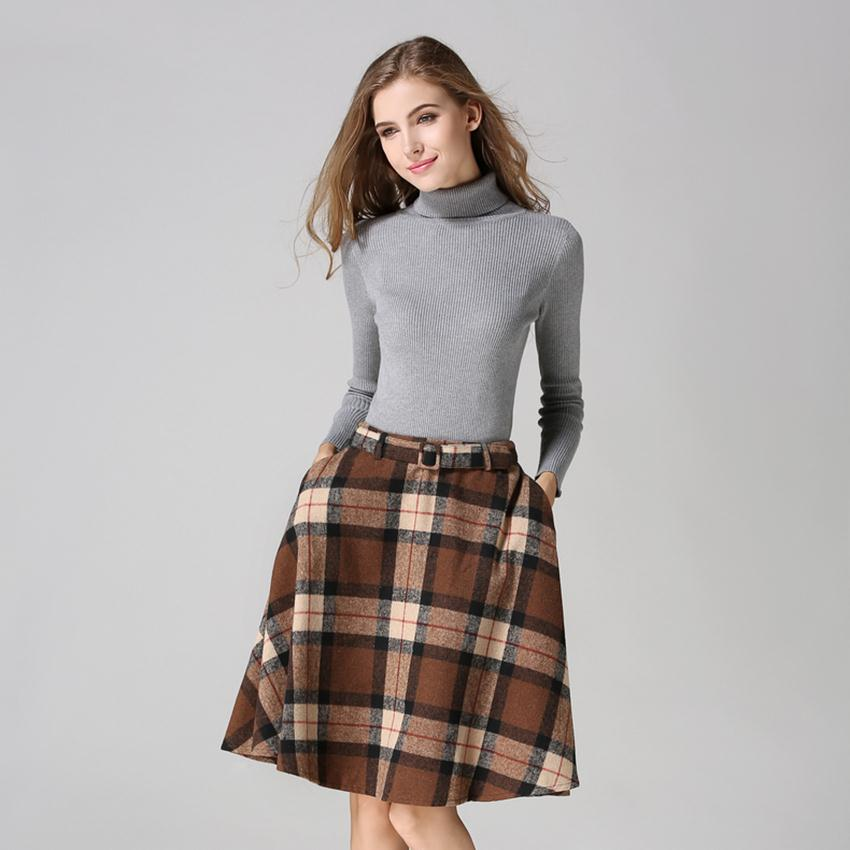 vintage pleated plaid woolen skirt fashion 2015 autumn