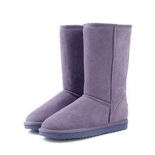 HABUCKN hoge snowboots voor vrouwen winter schoenen schapenvacht leer bont gevoerde grote meisjes tall wol dij winter laarzen zwart(China)